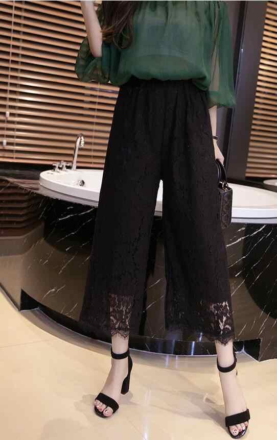 Branco 2019 pantalones mujer Sexy Rendas das Mulheres Calças de Verão Comprimento Bezerro Calças Soltas Cintura Elástica Calças Wide Leg Plus tamanho 4XL