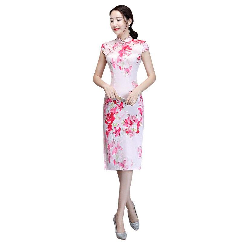 M Femmes 8228 Taille Robe Chinois 8229 3xl Cheongsam Nouvelle Qipao Traditionnels Imprimer Plus Dame Arrivée Élégante La Fleur Soie Sexy Nouveauté Courte qx1twU
