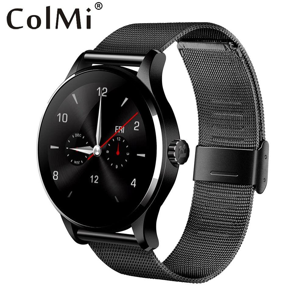 ColMi K88H плюс Smart Watch 1,22 дюймовый круглый Экран Поддержка монитор сердечного ритма Bluetooth MTK2502C наручные часы для IOS Android