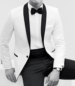 Image 1 - 2017 New Hot Sale tuxedos White mens dress Color process Shawl collar white groom suits ( jacket+Pants+tie)
