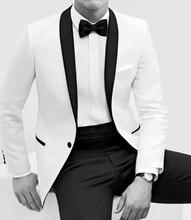 2017 neue Heißer Verkauf smoking Weißen männer kleid Farbe prozess Schal kragen weiß bräutigam anzüge (jacke + Pants + krawatte)