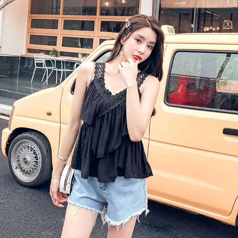 2019 Women's Summer New Style Elegant Fashion Design Sleeveless Sexy V Neck Camisole Top Vest Sweet Lace Sling Ruffles Tank Top(China)