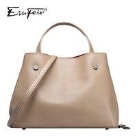 ESUFEIR Brand Genuine Leather Women Bag Luxury Handbag for Women Fashion Designer Bag Leather Shoulder Messenger Bag Casual Tote