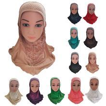Muslim Kids Girls Amira Hijab Islamic Head Cover Shawl Scarf Arab One Piece Hat Rhinestone Neck Cover Turban Ramadan Bandanas