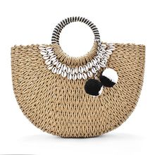 Woman Fashion New Creative Shell Moon Straw Bag Scarf Hair Ball Decoration Straw bag Portable Woven Beach Handbag