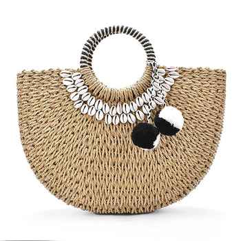 Woman Fashion New Creative Shell Moon Straw Bag Scarf Hair Ball Decoration Straw bag Portable Woven Beach Handbag - Category 🛒 All Category