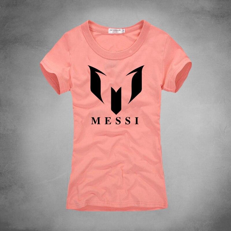 2016 Summer Brand Female t shirt 100% Cotton Barcelona MESSI