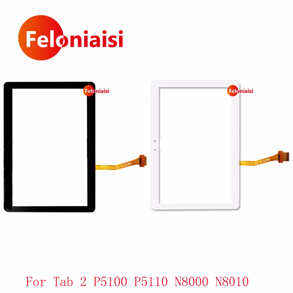 Haute Qualité 10.1 pour Samsung Galaxy Tab 2 P5100 P5110 N8000 N8010 Écran Tactile Digitizer Capteur Avant Outer Lentille En Verre Panneau