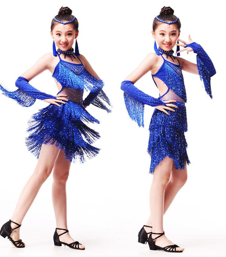 New Sexy Latin Dance Dress For Girls Kids Children Fringe Competition Latin Skirt Salsa Samba Dance Latin Salsa Dresses