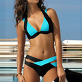2017 Women Swimwears Swimsuit Fashion Slim Casual Mixed Color Cross Bathing Suit Halter Padded Sexy Bikini Set Blue/Green/Purple
