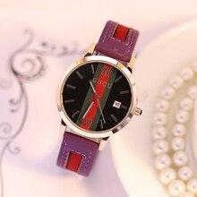 GUOU Reloj de Moda de Lujo Relojes mujer Ladies Relojes Para Las Mujeres Reloj de Pulsera Correa de Cuero Del Reloj del relogio feminino saat