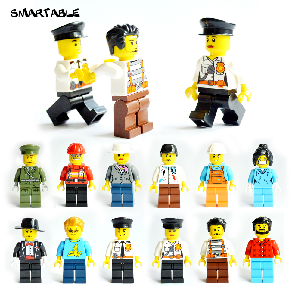 Smartable 12pcs Building Blocks Figures brick DIY toys Compatible Legoing Figures city Police soldier for Christmas Gift 1604 12pcs set children kids toys gift mini figures toys little pet animal cat dog lps action figures