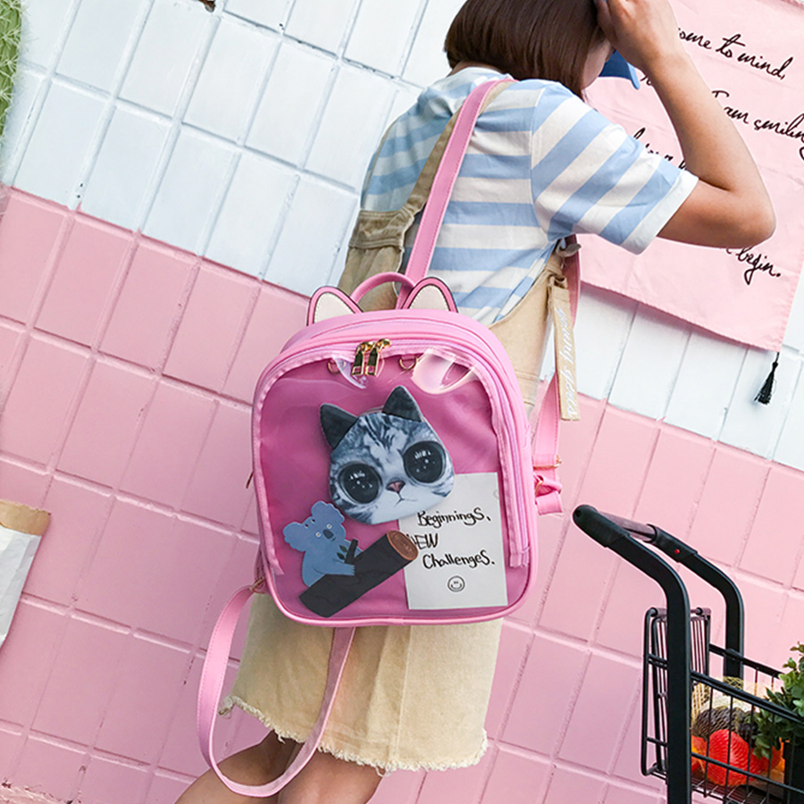 Lovely Cat Ear Leather Backpacks Candy Color Transparent Bag Teenage Girls Travel Bakpack Children Shoulder Bags School Itabag