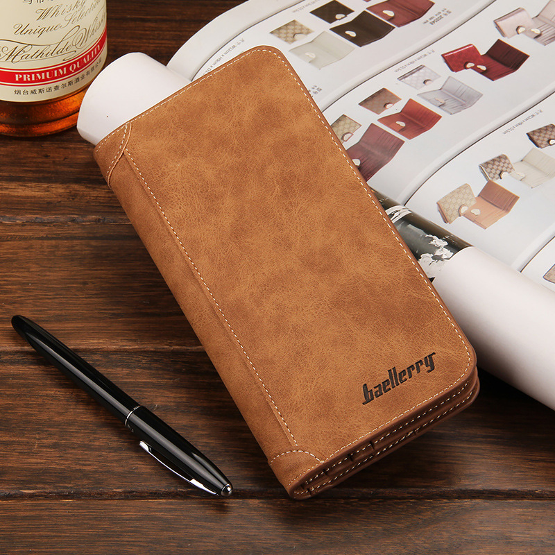 Hot Sale Leather Wallets Men High Quality Brand Casual Vintage Wallet Long Purses Card Holders Clutch Bags Creative Phone Pocket 2016 famous brand new men business brown black clutch wallets bags male real leather high capacity long wallet purses handy bags
