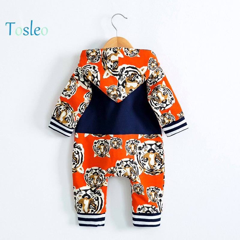 2018 Spring Baby Romper 100% Cotton Tiger Animal Printed Fashion Baby Clothes Animal Costume Zipper Kids Full Sleeve Kid Clothes