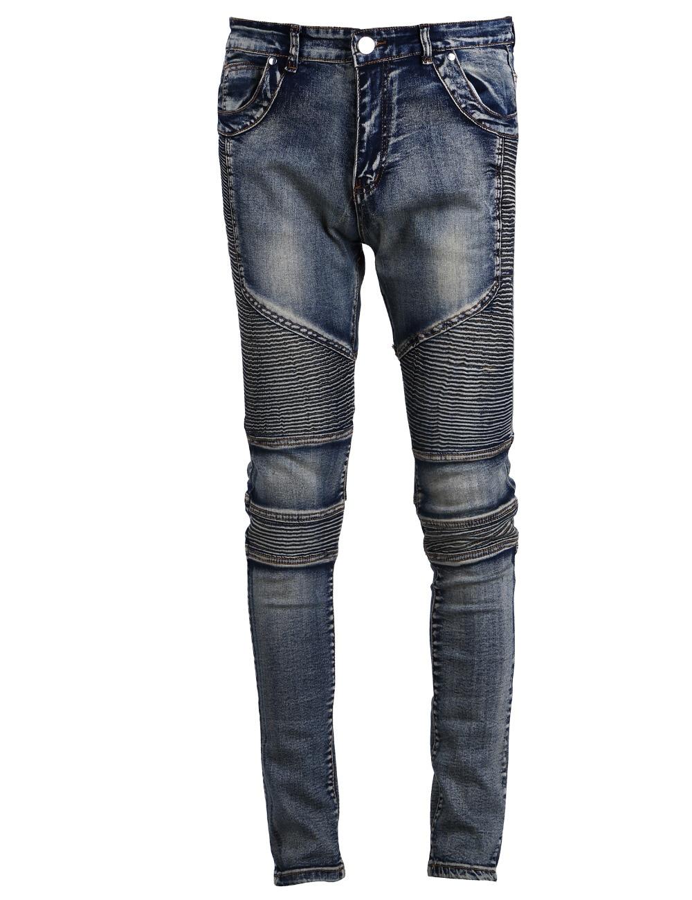 Runway Men`s Grey Washed Slim Fit Denim Pants Hip Hop Stretchy Motorcycle Biker Jeans For Hipster