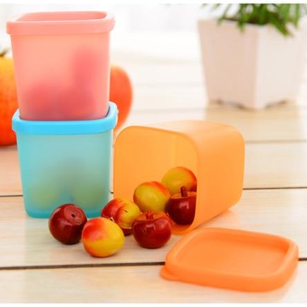 3 Sztuk / partia Lodówka ostrzejsze uszczelnione przezroczyste plastikowe pudełko, kuchnia sortowania pudełko do przechowywania żywności 3 kolory Darmowa Wysyłka