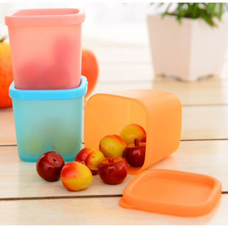 3pcs / lot מקרר קריספר אטום שקוף תיבת פלסטיק, מטבח מיון מזון אחסון תיבת 3 צבעים משלוח חינם