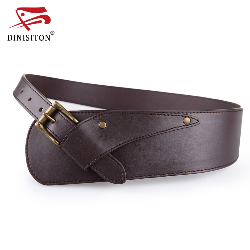 DINISITON Waistband Belts Vintage Women Belt Ladies Metal Buckle Waist Belt ultra wide Belts For Woman YF002