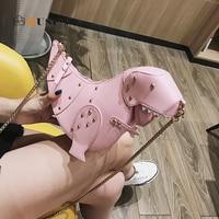 DUSUN Rivet Personality Dinosaur Design Fashion Leather Crossbody Mini Messenger Bag Women Chain Purse Female Shoulder Bag Gift