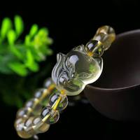 ( ball diameter:8mm) natural citrine Quartz crystal fox Round bead bracelet healing