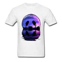 Sunset Panda Moon Tshirts 2018 New Arrival Round Neck 100% Cotton Tees Classic Tops Autumn T-Shirts Mens Free Shipping