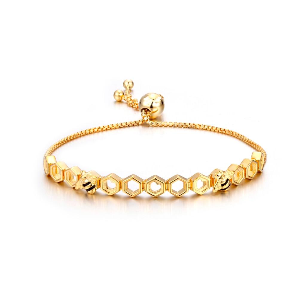 PDB2 Honey Bee 925 Sterling Silver Bracelets Colorful Heart Luxury Love Honey Comb Golden Bee Jewelry For Men Women Bracelet