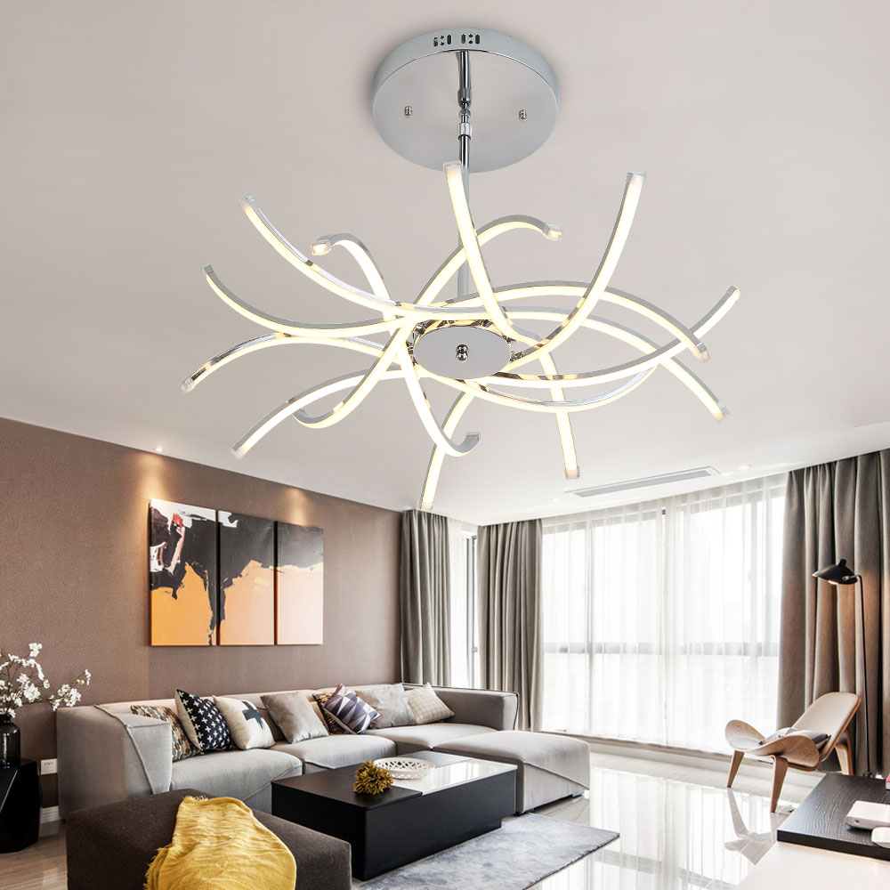 Led Chandelier Lighting Lustre Hanglamp Fixture Chrome Ceiling Plate ...