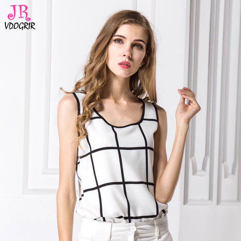 1f0c4dc9bb639 VDOGRIR Black White Plaid Tank Tops For Women Girls Breathable Chiffon Tank  Fashion Causal Tops O neck Collar-in Tank Tops from Women s Clothing on ...