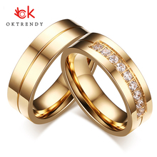 Oktrendy 1 Pair Wedding Rings for Women Men Couple Promise Band Stainless Steel Anniversary Engagement Jewelry Alliance Bijoux