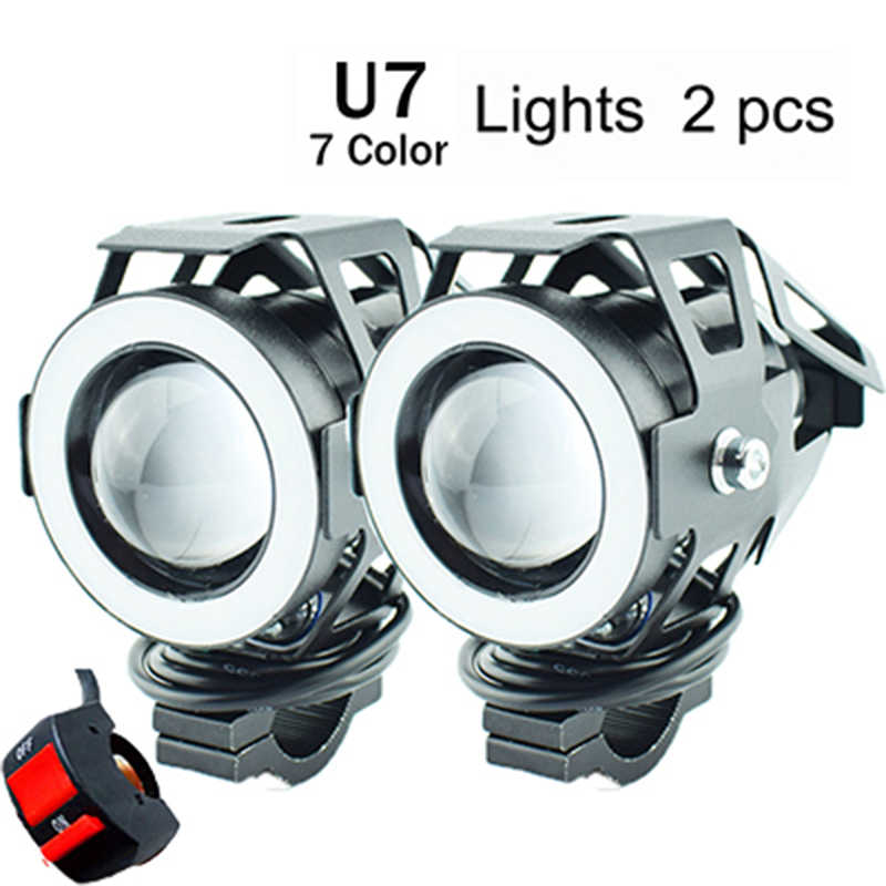 2Pcs Motorcycle headlight U7 LED 12V 125W 7 Colors Motorbike driving auxiliary head Lamp Super Bright Motor Bicycle Fog Light