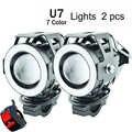 2Pcs Motorcycle headlight U7 LED 12V 125W 7 Colors Motorbike driving auxiliary head Lamp Super Bright Motor Bicycle Fog Light