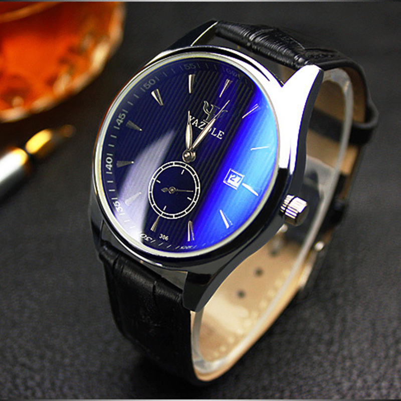 Hot Sale YAZOLE Wrist watch Luxury Auto Date Watch Men Watch Fashion Blue Glass Watches Clock saat montre homme reloj hombre luxury mens quartz wrist watch date gunmetal watches round case watch hot sale watches relogio reloj hombre montre clock saat
