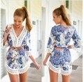 Mujeres calientes sexy de encaje de ganchillo de boho beach dress floral gasa camisa de la blusa