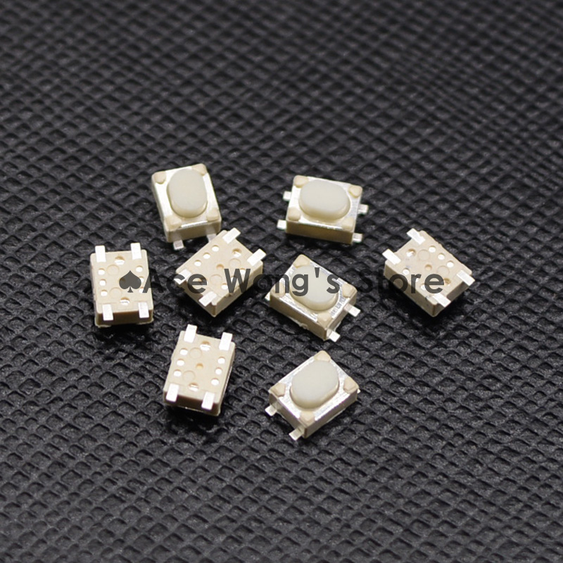 Free shipping 50PCS SMD 4Pin 3X4X2.5MM White Tactile Tact Push Button Micro Switch Momentary 7 x 7mm x 16mm black cap push button tactile tact switch lock 6 pin dip
