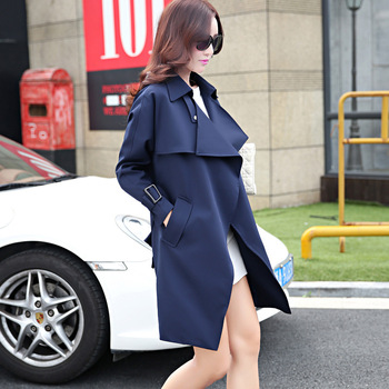 European and American women new 2017 spring and autumn women Slim classic fashion coat long fashion jacket Windbreaker. 160 2