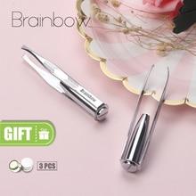 Brainbow 1pc LED Tweezer 3 Batteries Eyelash Eyebrow Eyes Hair Remover Tools Stainless Steel Eyebrow Tweezers