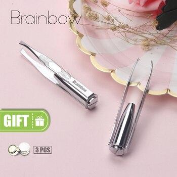 Brainbow 1pc LED Tweezer+3 Batteries Eyelash Eyebrow Eyes Hair Remover Tools Stainless Steel Eyebrow Tweezers Pinzette Beauty