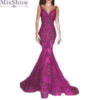 2019 Luxury Red Lace Appliques V Neck Mermaid Bridesmaid Dresses Long Vestido De Festa Maid Of Honor Dress Vestido De Festa
