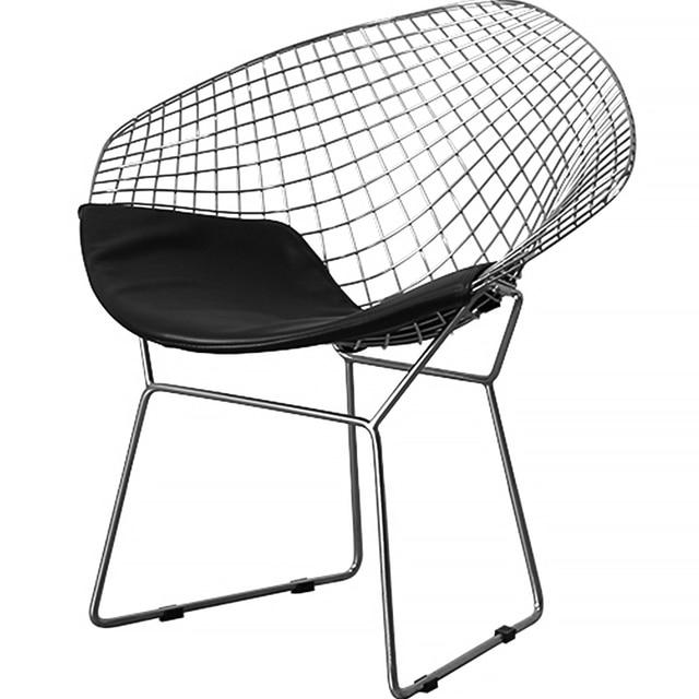 Diamond Chair Leisure Chair Steel Wire Chair Cushion Modern Wire Chair  Chromed 2PC