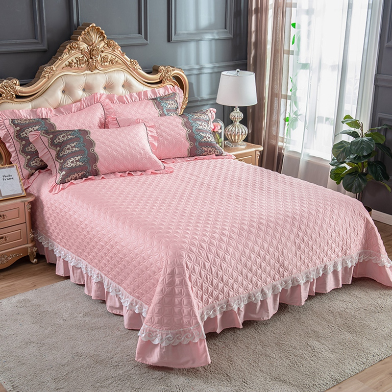 Luxury European Pink Blue Gray Red Egyptian Cotton Lace Quilt Set 3PCS Quilted Bedspread Bed Cover Bed Sheet Blanket Pillowcases