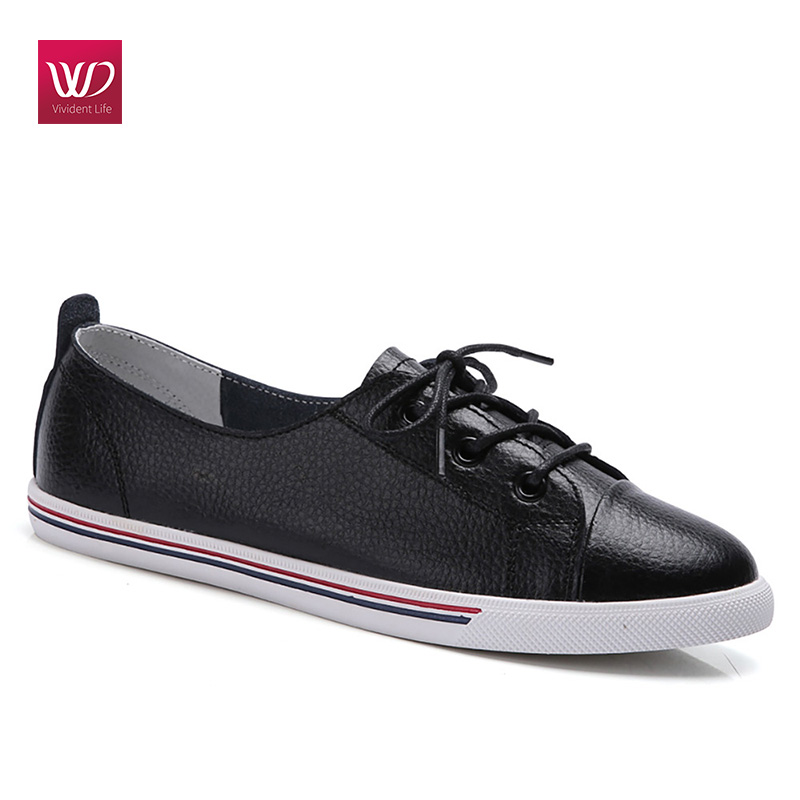 Vivident Genuine Leather Flats Women Sneakers Loafers Lace Up Shoes Platform Vulansize Pointed Toe Preppy Black Shoes tfsland men women genuine leather loafers students white shoes unisex spring round toe lace up breathable walking shoes sneakers