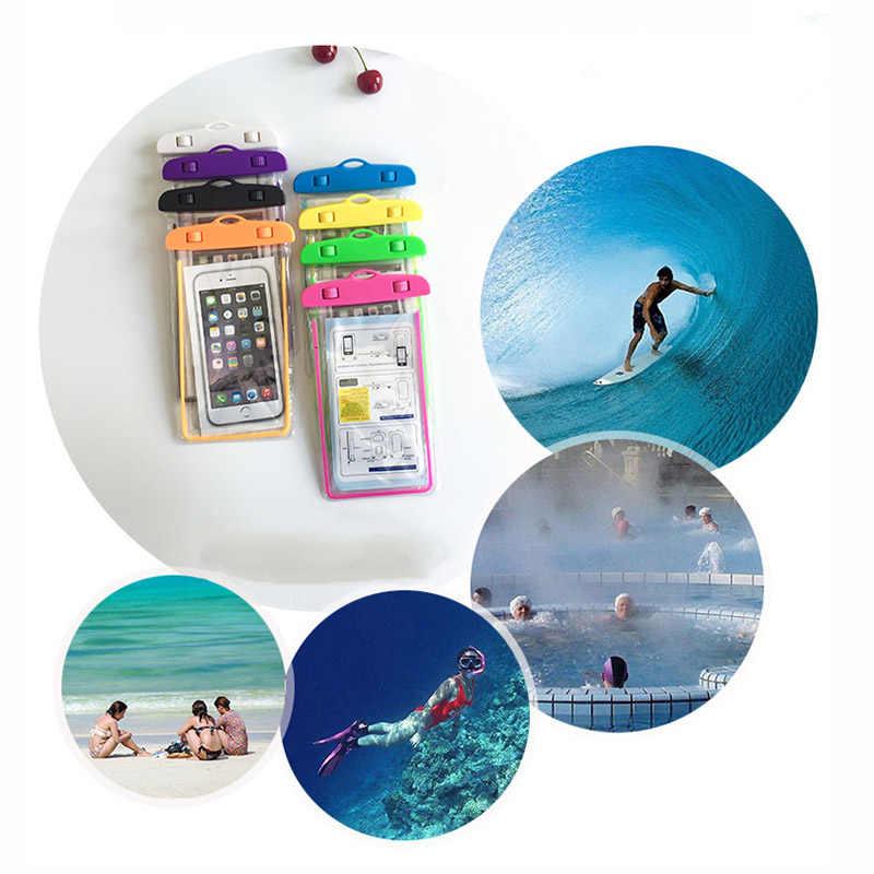 Universal À Prova D' Água Bolsa de Telefone Para LG G Pro Lite D684 D686 D682 D685 G Pro Lite Dupla Swim Mergulho Transparente saco Caso Luminosa