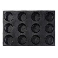 Non stick Perforated Baking Mold for 4 inch Buns, 12 Molds 12 Cavities Silform Style Silicone Bun Bread Pan
