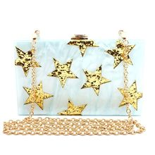 New Hot Sale Fashion Women Acrylic Star Evening Bags Wedding Prom Party Bridal Box Clutch Handbag