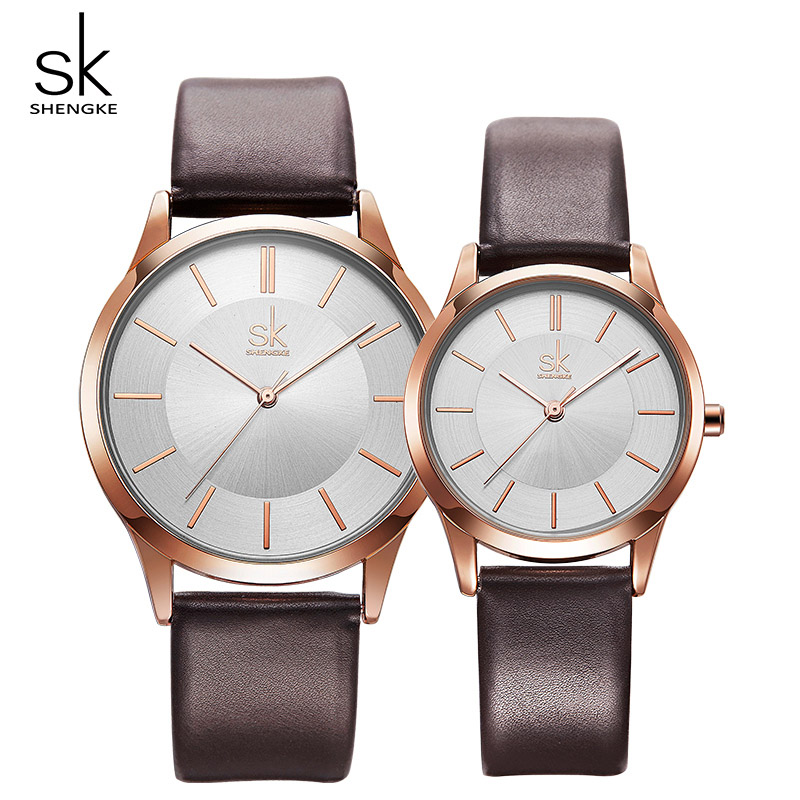 Shengke Couple Watches Fashion Black Leather Women Men Luxury Quartz Female Male Wrist Watch Gift For Lovers Montre Femme Clock