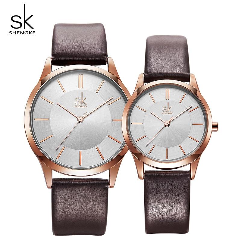 Shengke Couple Watches Fashion Black Leather Women Men Luxury Quartz Female Male Wrist Watch Gift For Lovers Montre Femme Clock