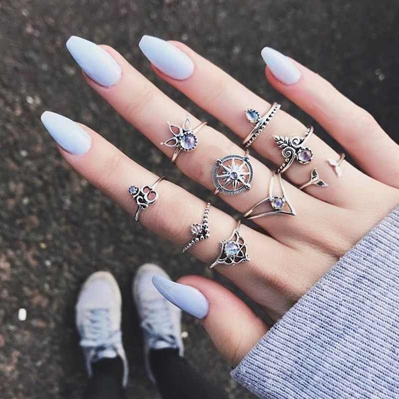 Vintage Punk Knuckle Ring Set For Women Hollow Flower Sun Moon Ancient Gold Silver Color Rings Middle Finger Jewelry