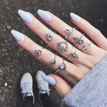 Vintage Punk Knuckle Ring Set For Women Hollow Flower Sun Moon Ancient Gold Silver Color Rings Middle Finger Jewelry(China)