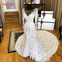 TaooZor Classic Embroidery Lace Mermaid Wedding Dresses 2018 Sexy Open Back Chapel Train Full Sleeve Vestido